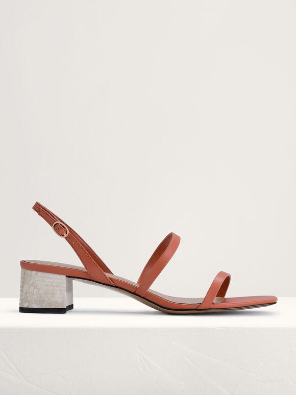 Square Toe Heeled Sandals, Brick, hi-res