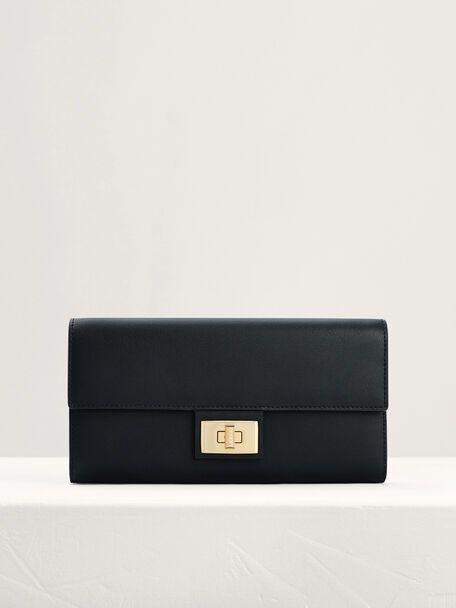 Leather Wallet On Chain, Black, hi-res
