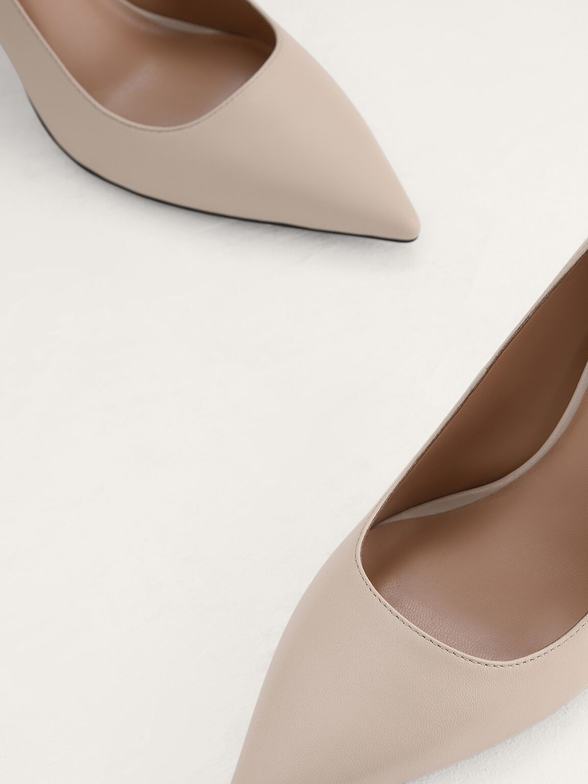 Leather Pumps, Cream, hi-res