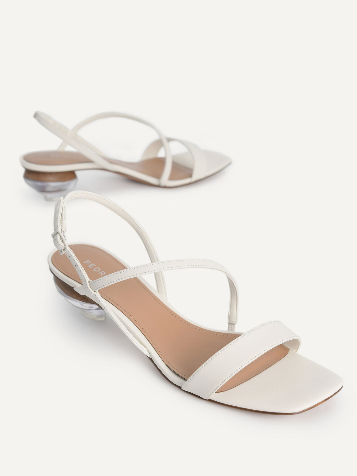 Strappy Sandals with Ornament Heels, Chalk, hi-res