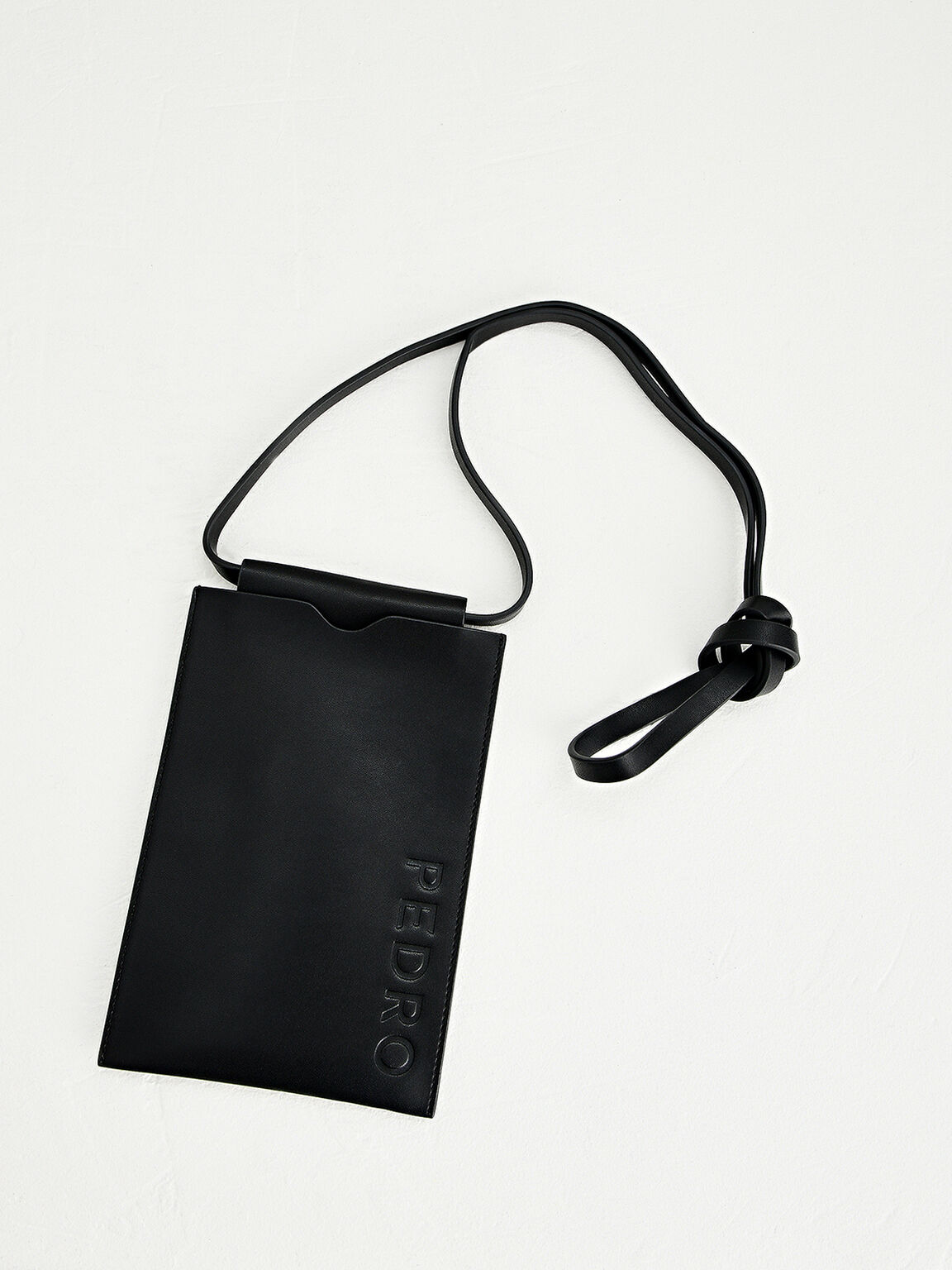 Phone Pouch with Lanyard, Black, hi-res