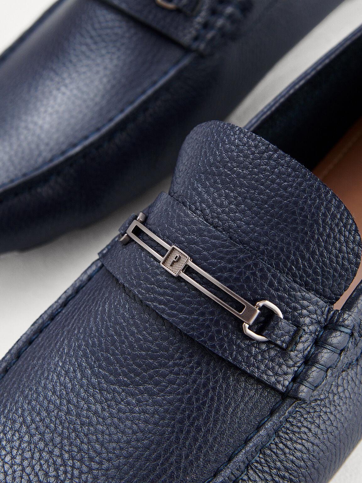 Leather Bit Moccasins, Navy, hi-res