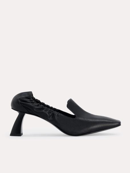Leather Heeled Loafers, Black, hi-res
