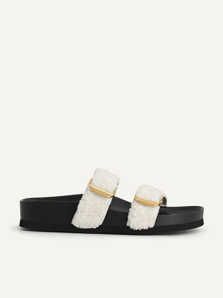 Shearling Double Strap Sandals, Beige, hi-res