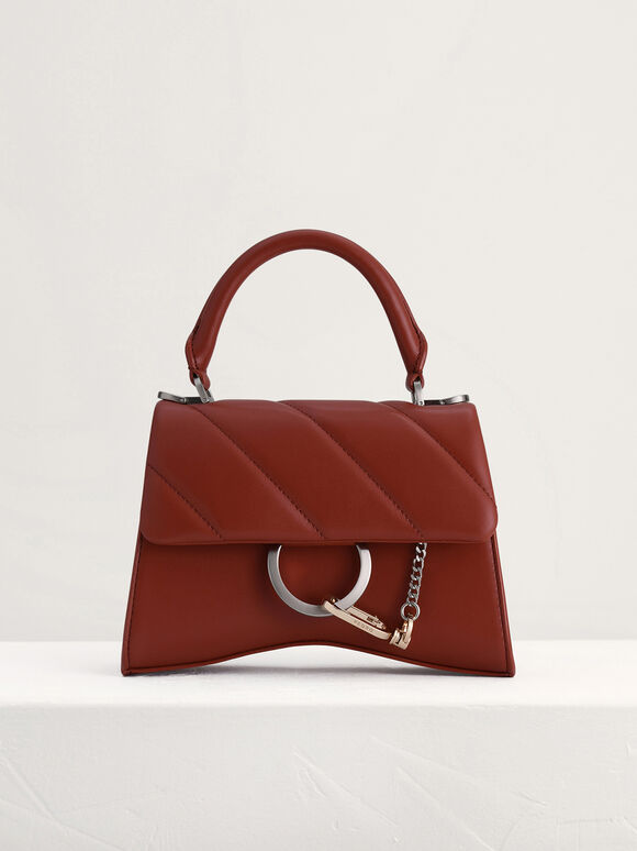 Qulited Top Handle Bag, Brick, hi-res
