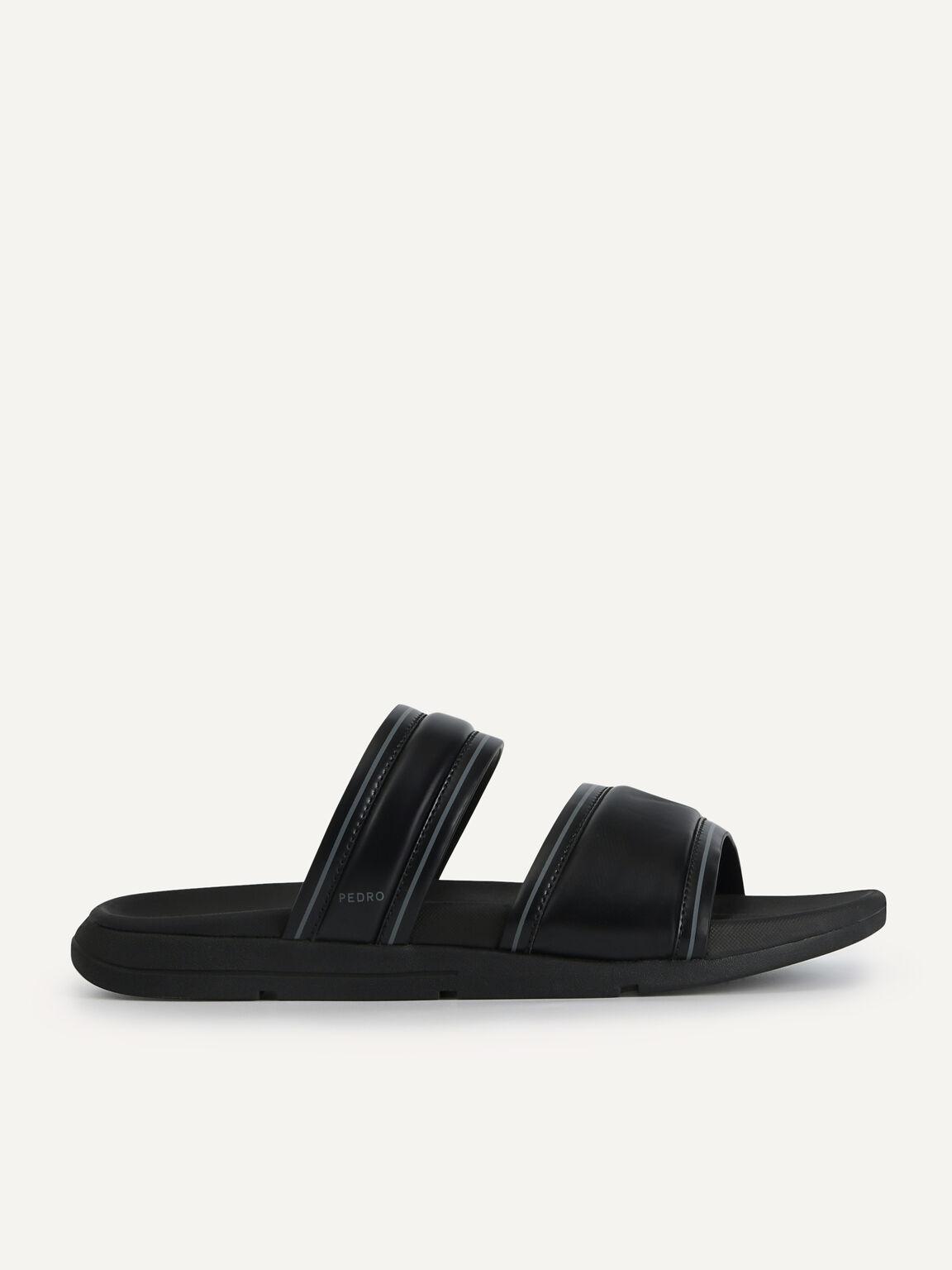 雙帶軟墊涼鞋, 黑色, hi-res