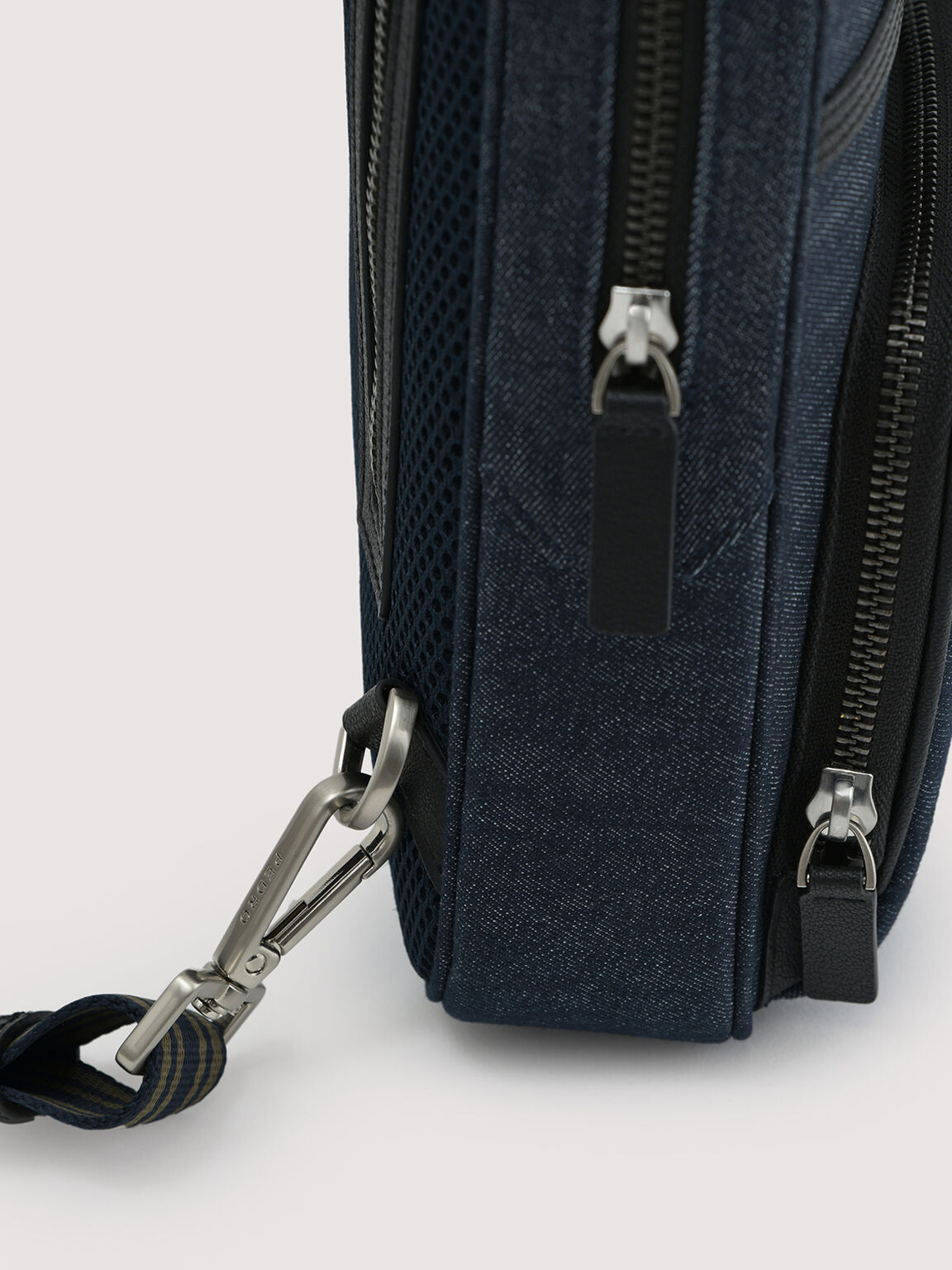 Sustainable Denim Sling Pouch, Navy, hi-res