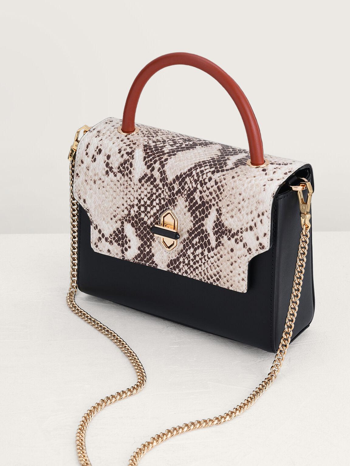 Snake-Effect Mini Top Handle Bag, Multi, hi-res