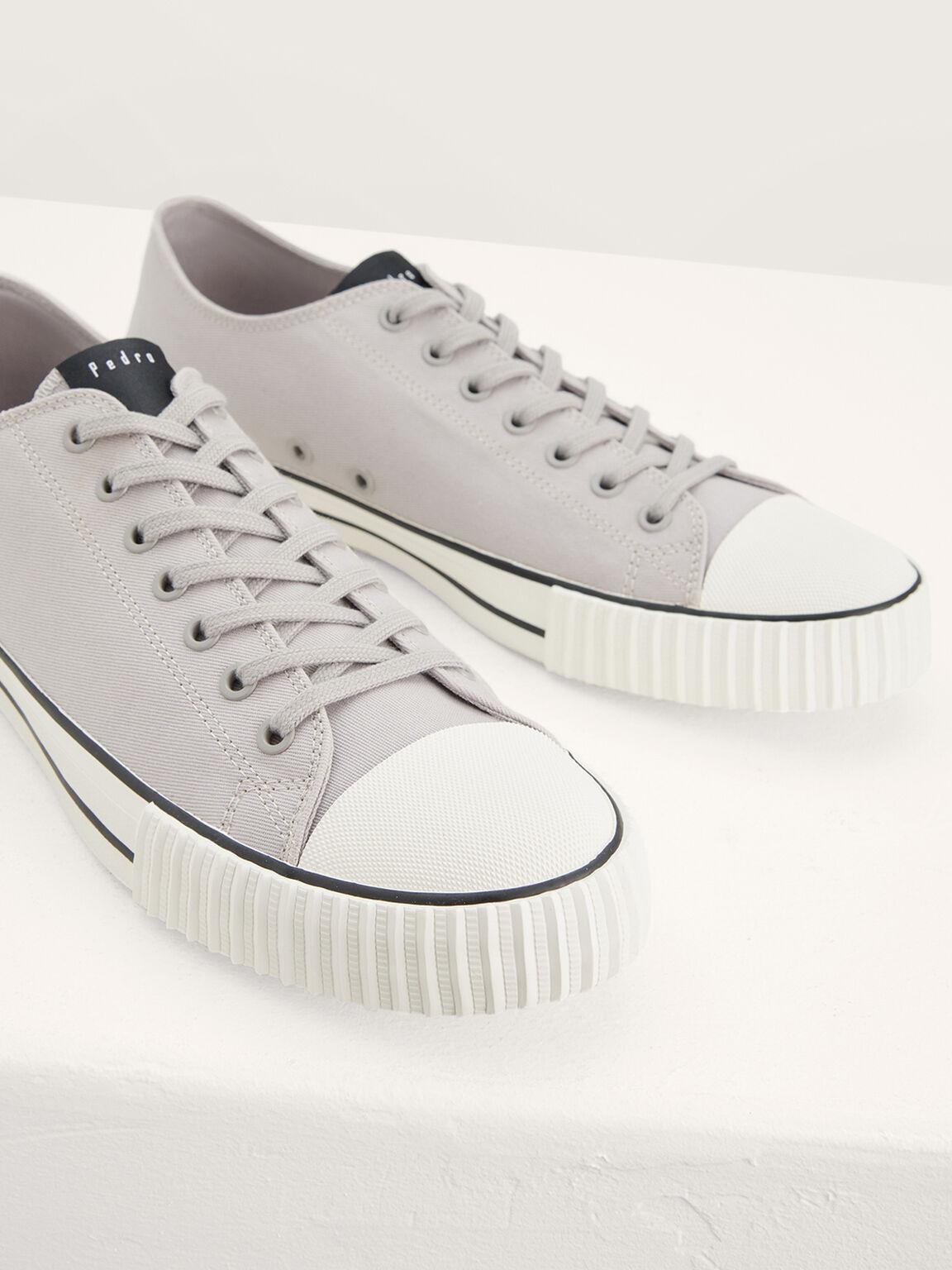 Casual Canvas Sneakers, Light Grey, hi-res