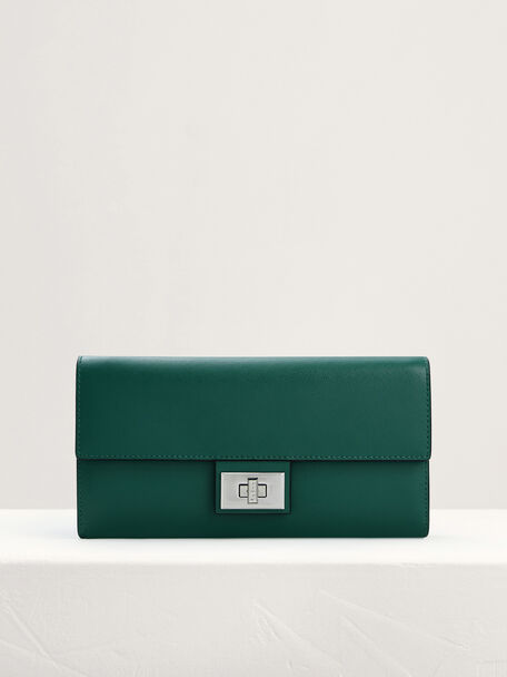 Leather Wallet On Chain, Green, hi-res