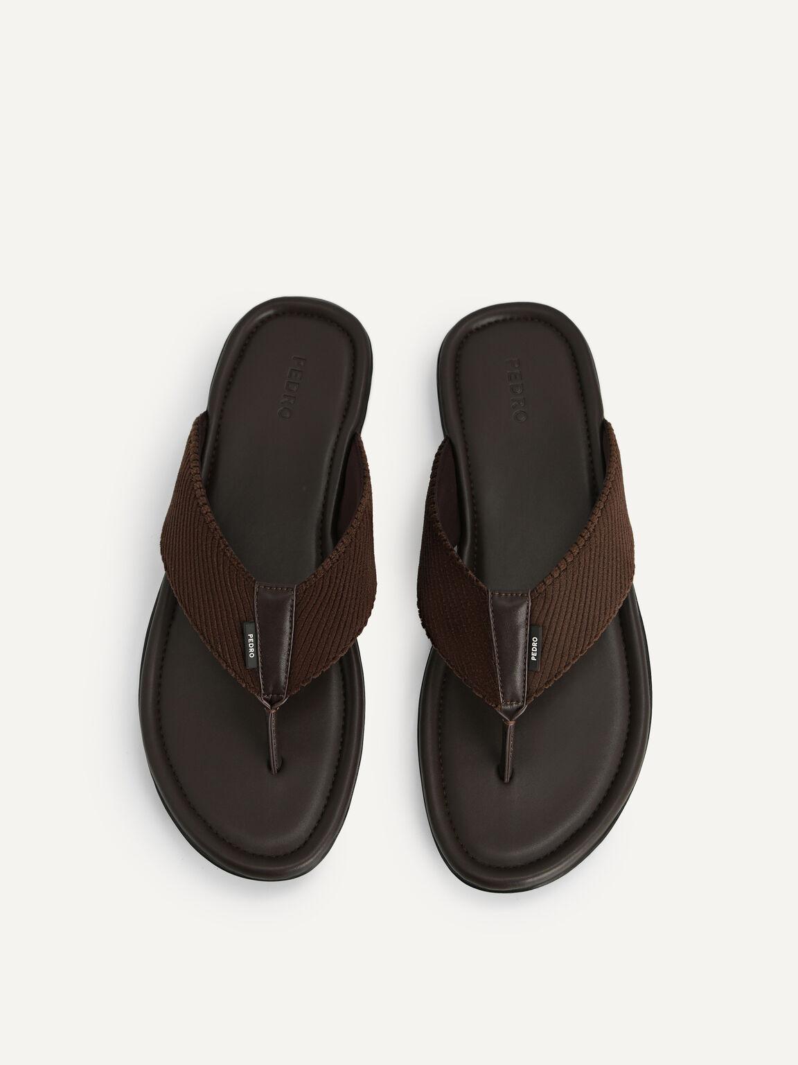Corduroy Thong Sandals, Dark Brown, hi-res