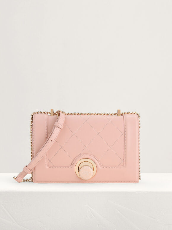 Quilted Shoulder Bag, Peach, hi-res