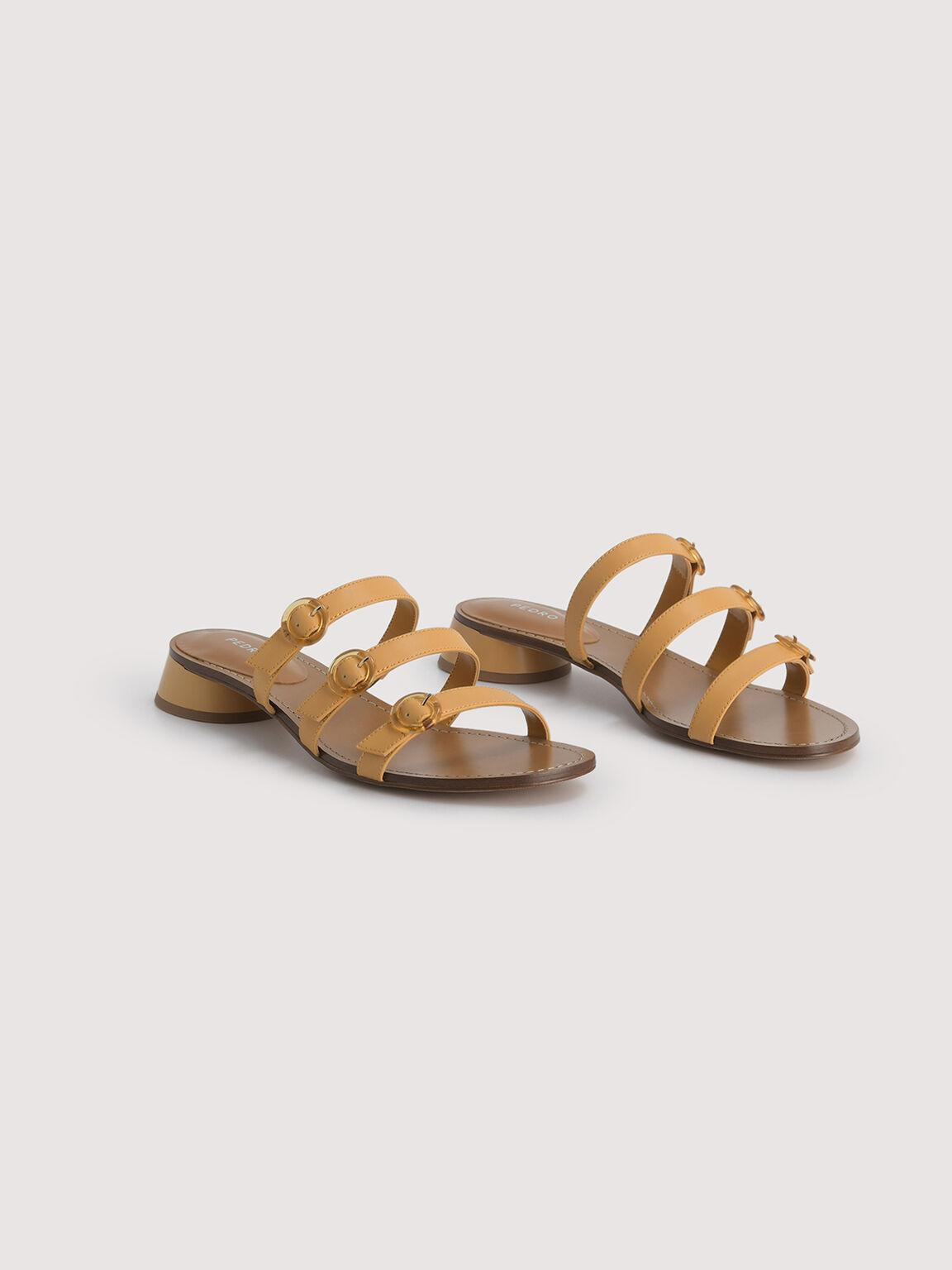 Buckled Strapped Sandals, Mustard, hi-res