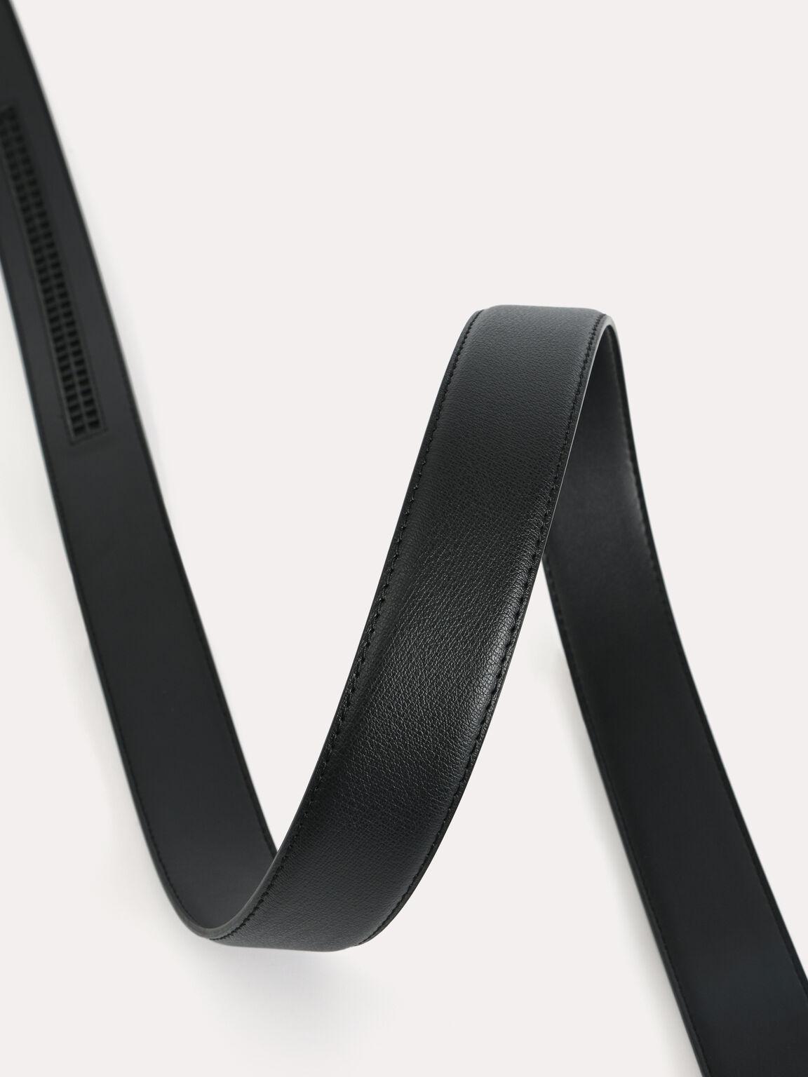 自動扣織紋皮帶, 黑色, hi-res