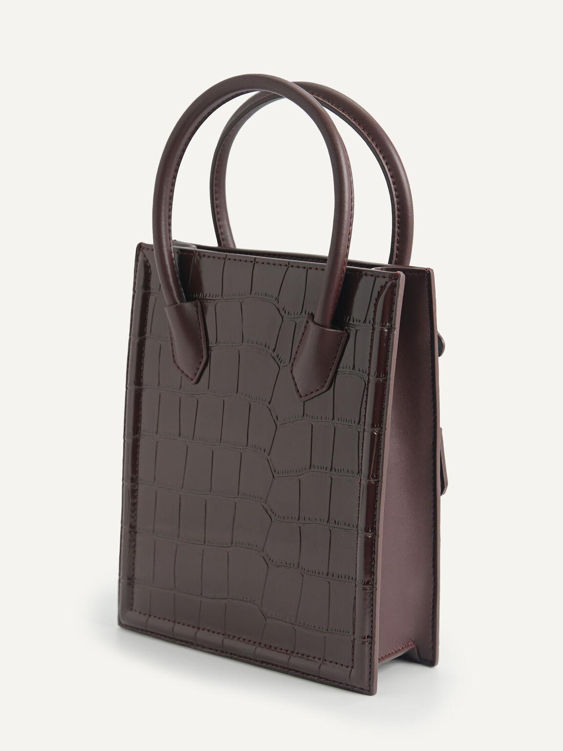 Croc-Effect Leather Tote, Mahogany, hi-res