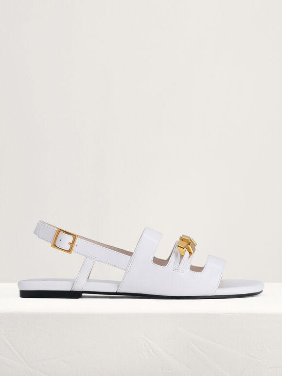 Gold Embellished Slingback Sandals, White, hi-res