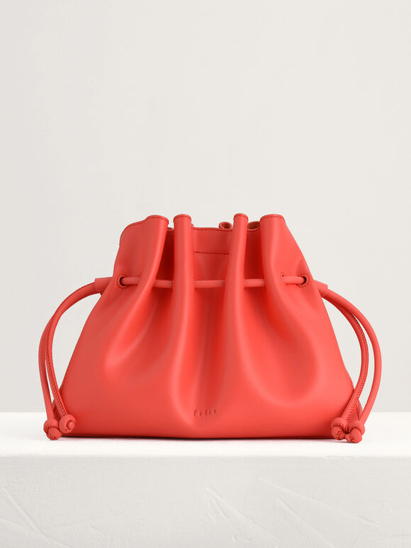 Drawstring Bucket Bag, Coral, hi-res