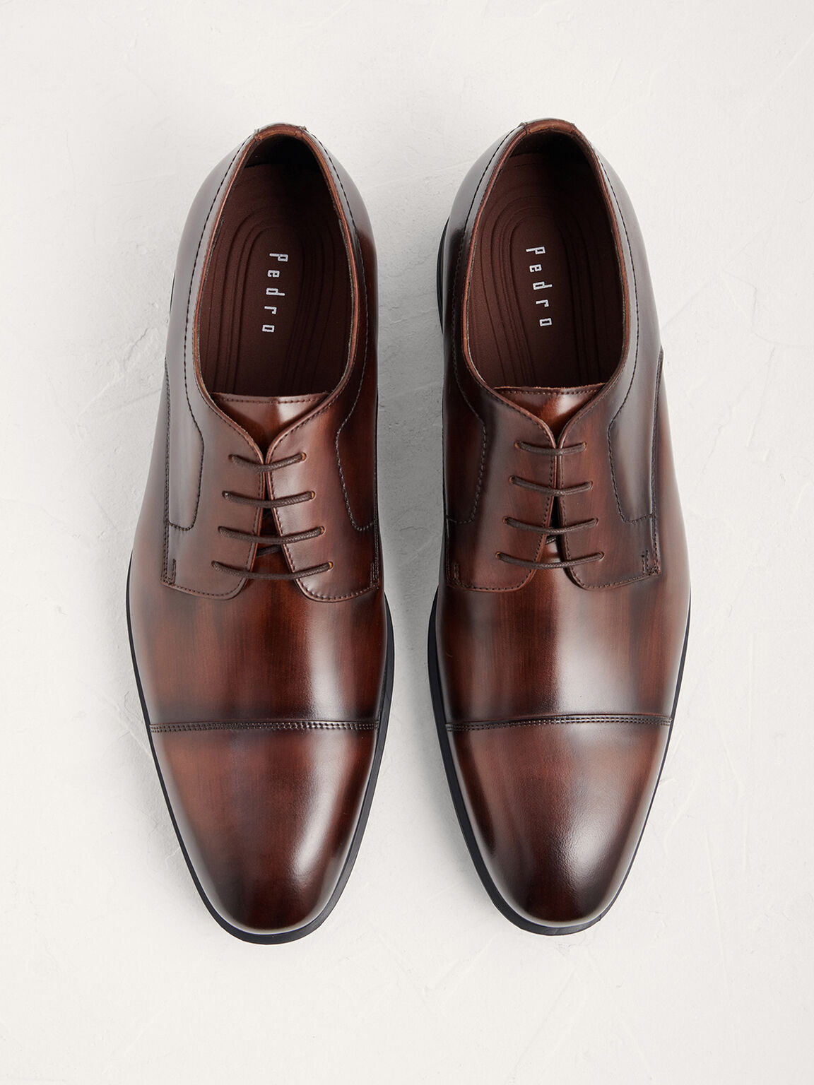 Leather Cap Toe Derby Shoes, Light Brown, hi-res