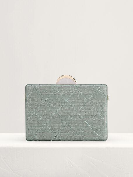 Quilt Boxy Clutch, Green, hi-res