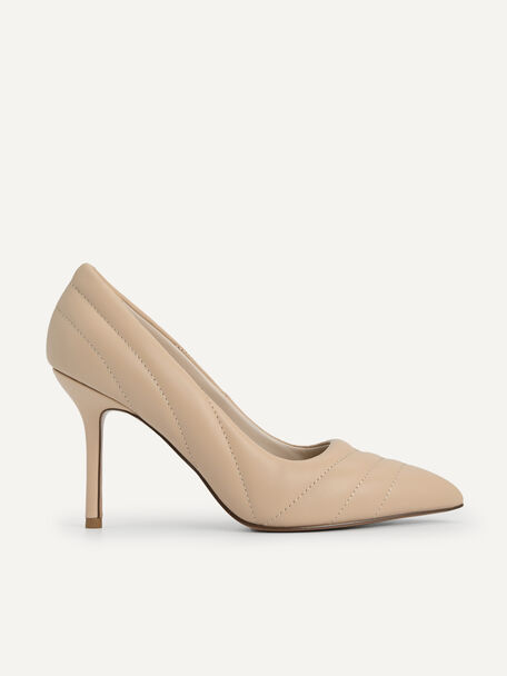 Leather Pointed Toe Pumps, Sand, hi-res