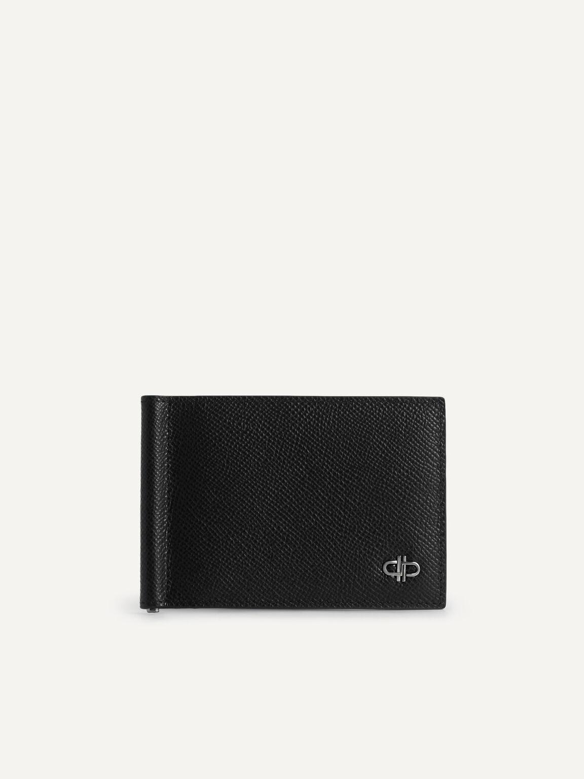 Icon織紋雙折疊帶錢夾皮革錢包, 黑色, hi-res