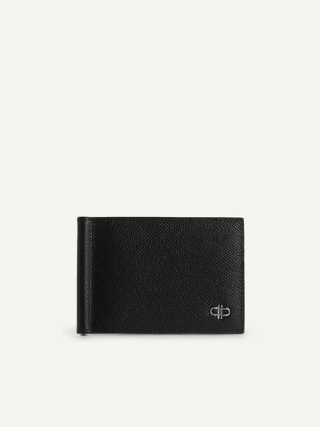 Icon Textured Leather Bi-Fold Wallet with Money Clip, Black, hi-res