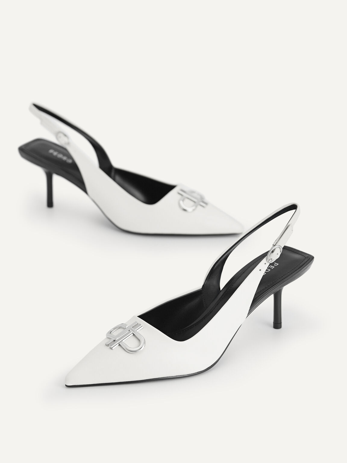 Icon Leather Pointed Toe Slingback Heels, Chalk, hi-res