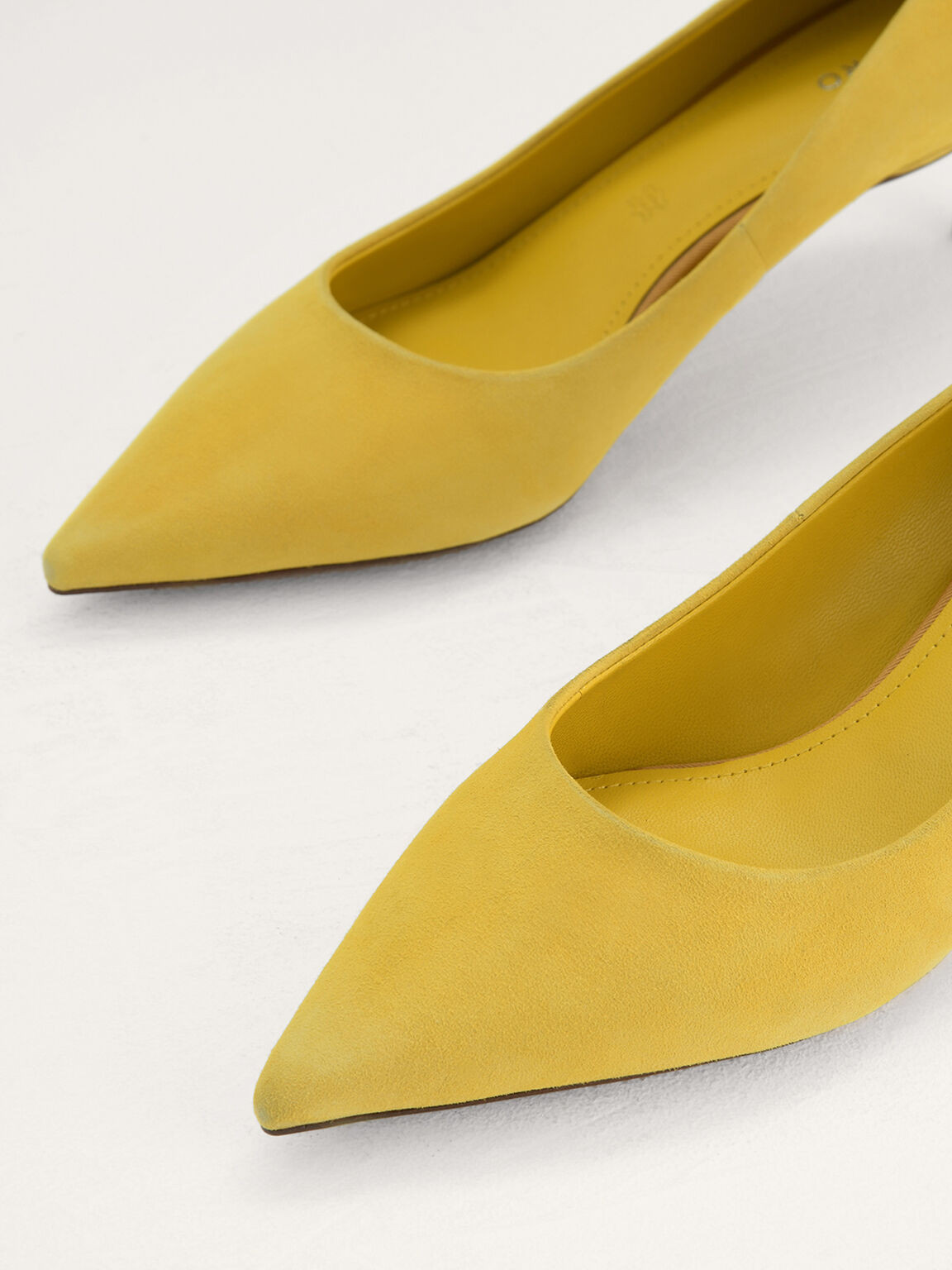 Suede Leather Pointed Pumps, Yellow, hi-res