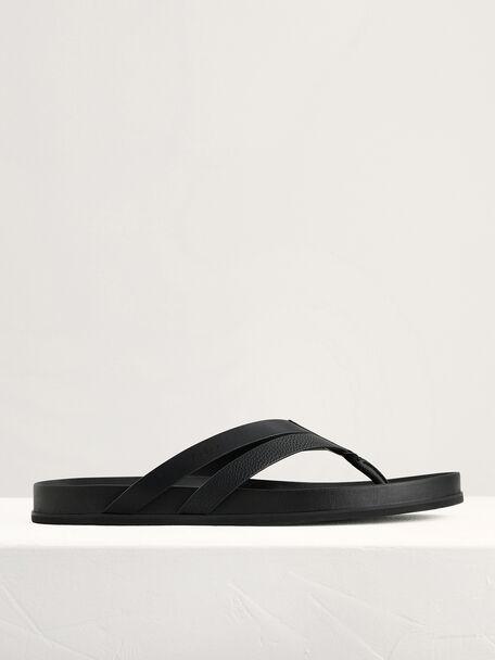 Textured Thong Sandals, Black, hi-res