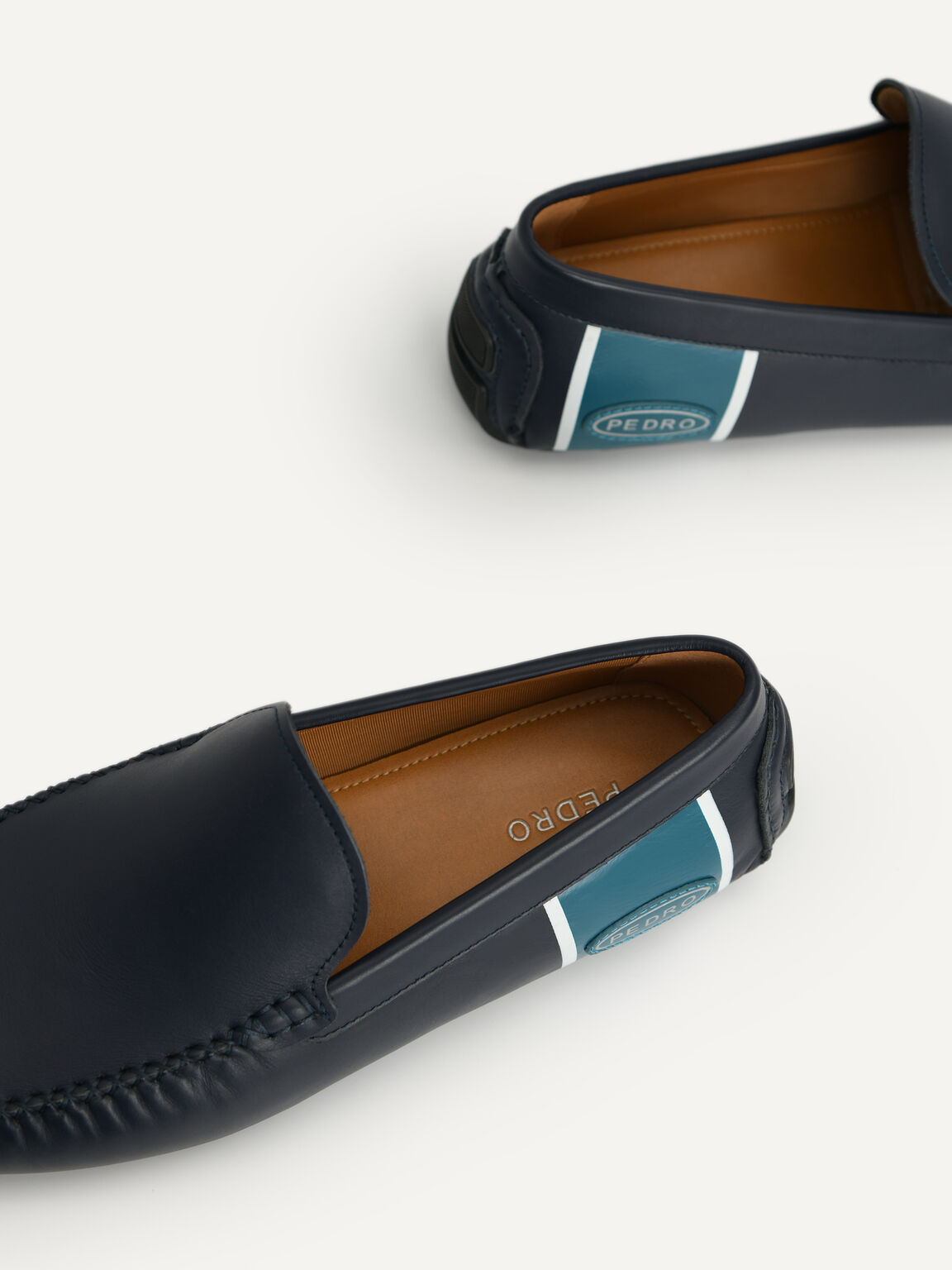 雙色皮革莫卡辛鞋, 海军蓝色, hi-res