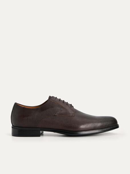 Textured Leather Derby Shoes, Dark Brown, hi-res