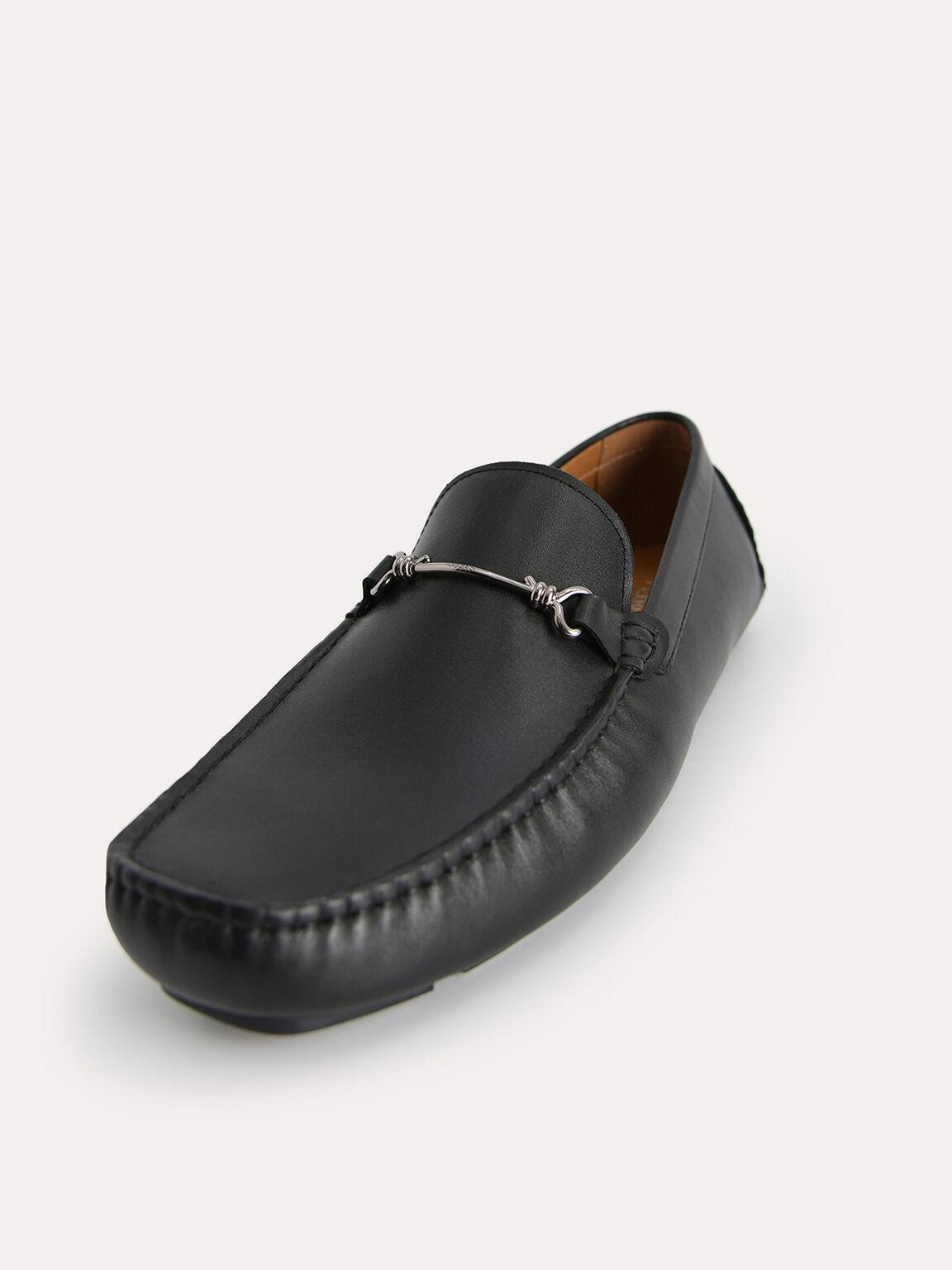 Leather Moccasins with Bit Detailing, Black, hi-res