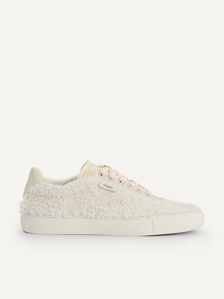 Shearling Court Sneakers, Beige, hi-res