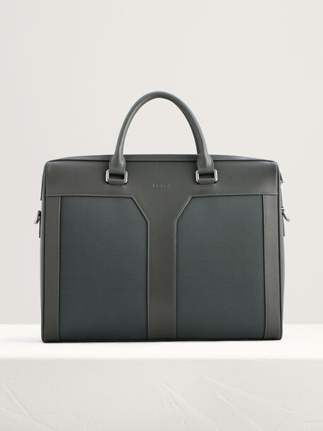 Leather Zipped Briefcase with Nylon Detail, Dark Grey, hi-res