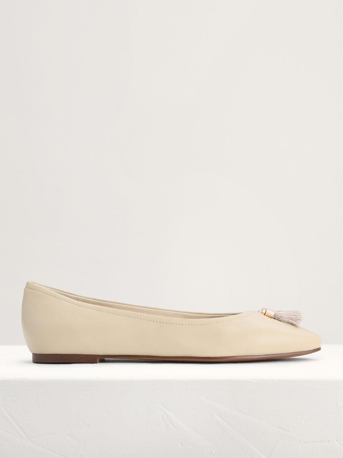 Leather Ballerina Flats, Beige, hi-res