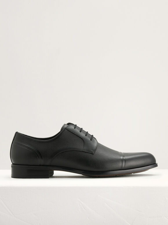 Embossed Leather Derby Shoes, Black, hi-res