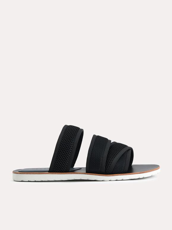 Strappy Mesh Sandals, Black, hi-res