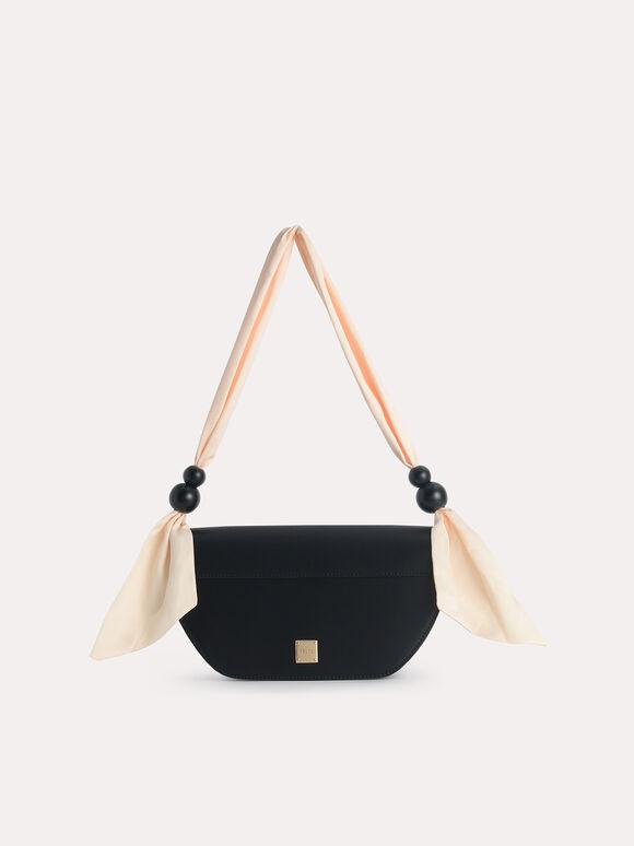 Leather Shoulder Bag with Scarf Top Handle, Black, hi-res