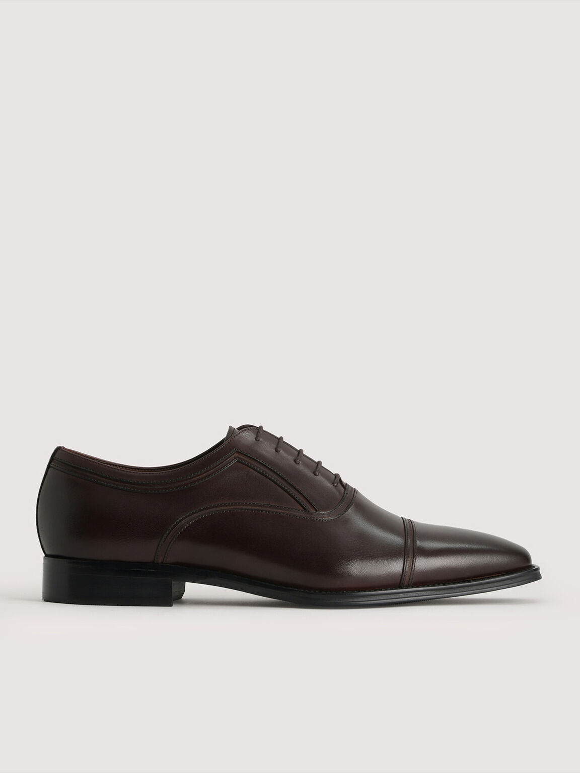 Leather Oxford Shoes, Dark Brown, hi-res