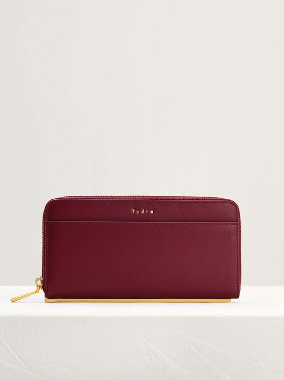 Leather Long Wallet, Wine, hi-res