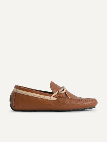 Textured Leather Moccasins with Bow, Brown, hi-res