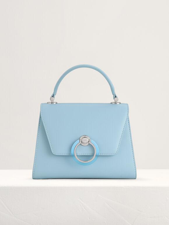 Structured Top Handle Bag, Light Blue, hi-res