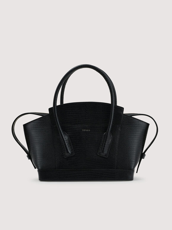 Embossed Leather Top Handle bag, Black, hi-res