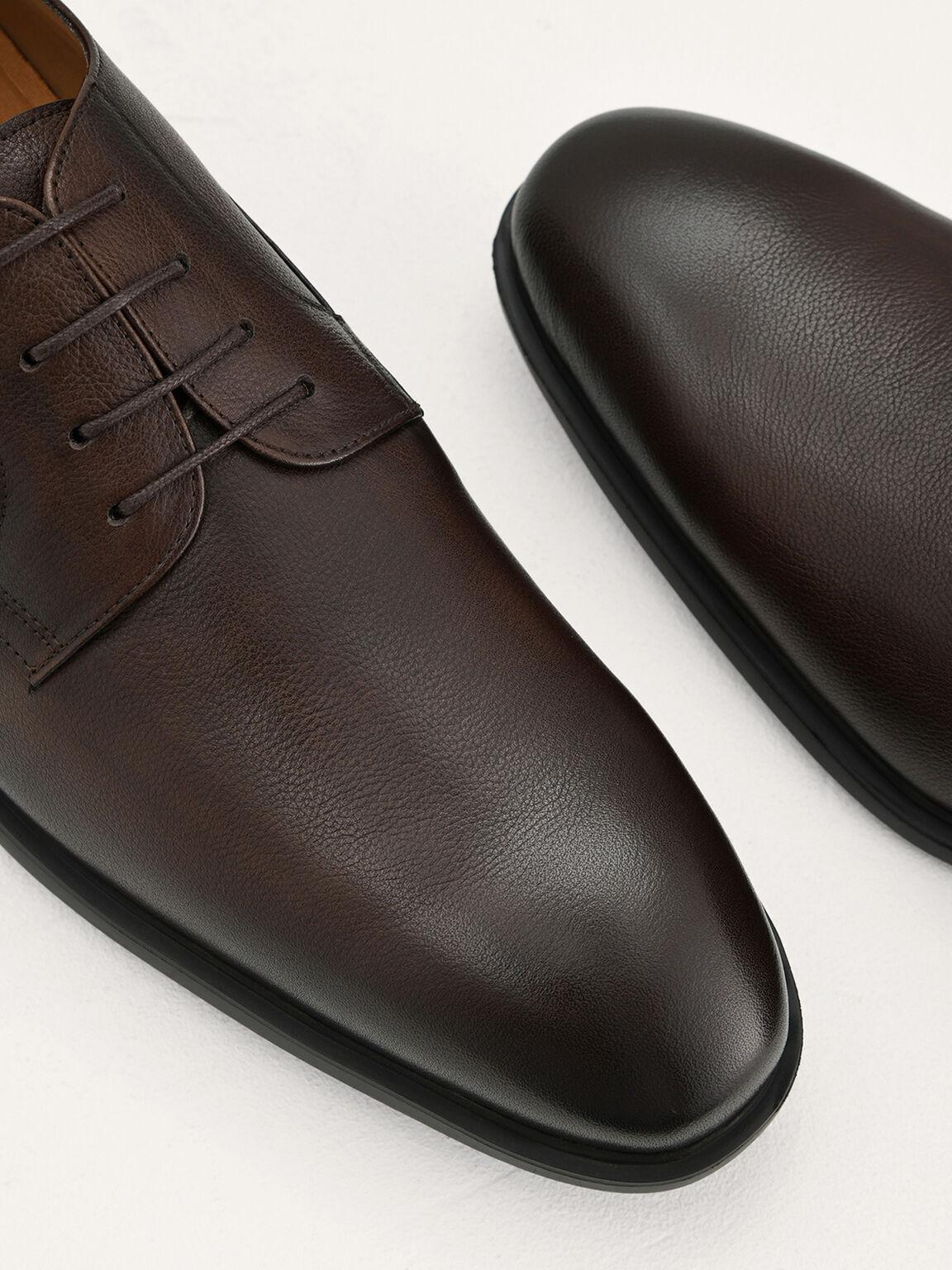 Lightweight Leather Derby Shoes, Dark Brown, hi-res