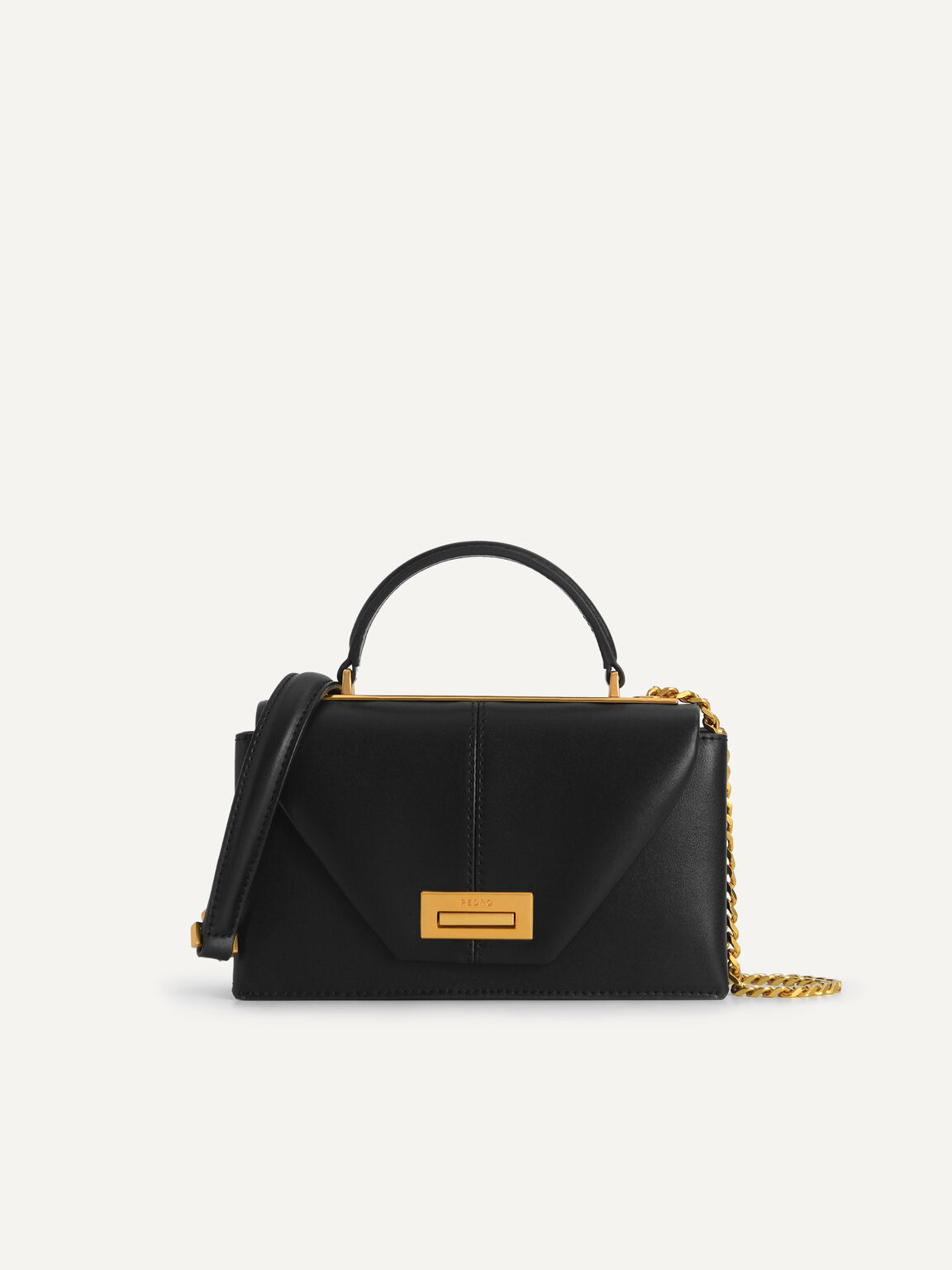 Mini Leather Top Handle Bag, Black, hi-res