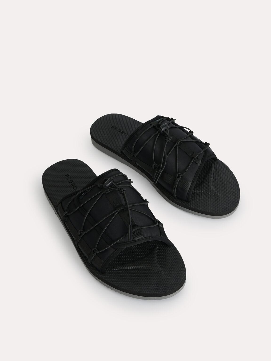 Nylon Slip-On Sandals, Black, hi-res
