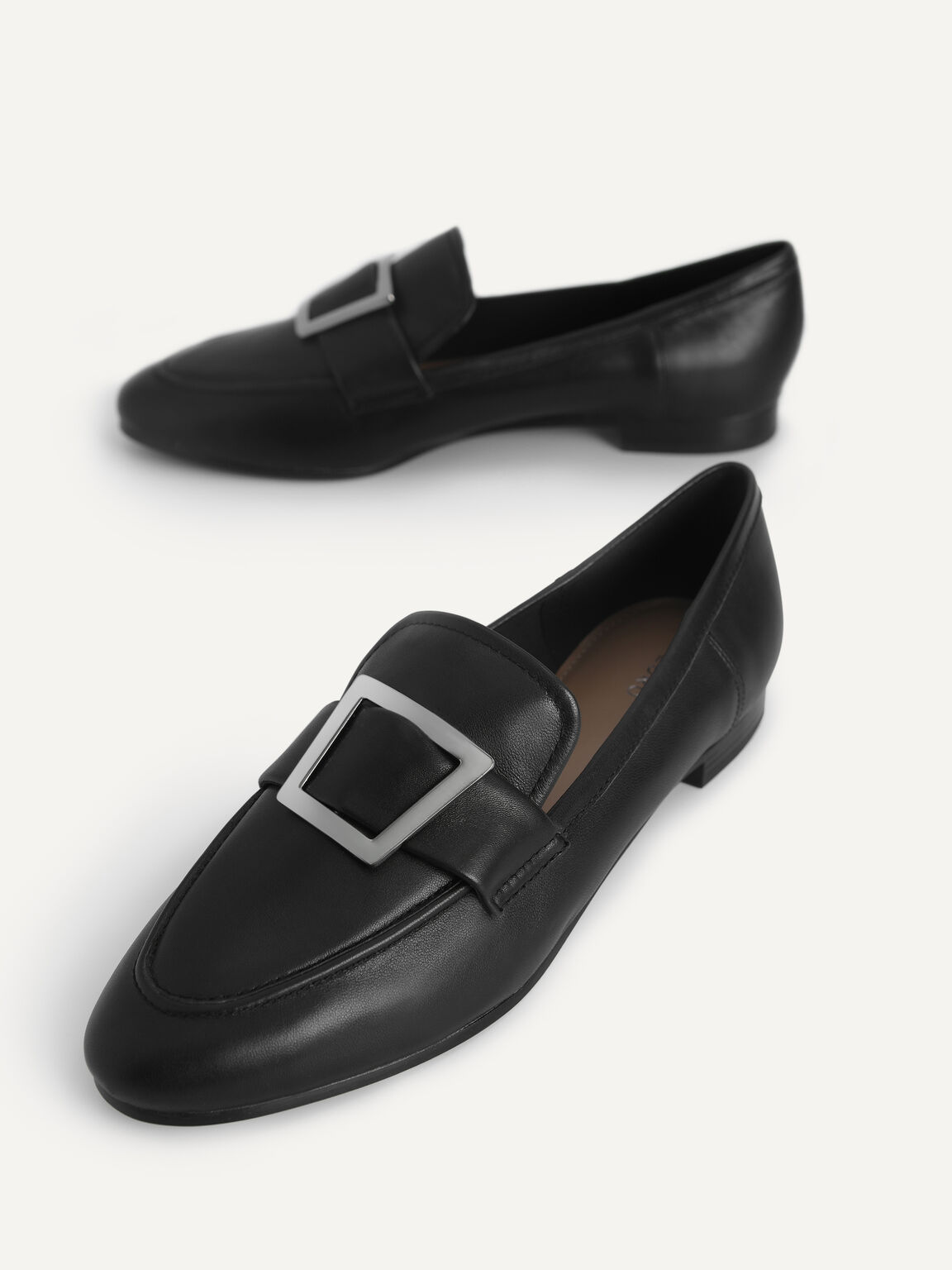 Leather Buckle Loafers, Black, hi-res