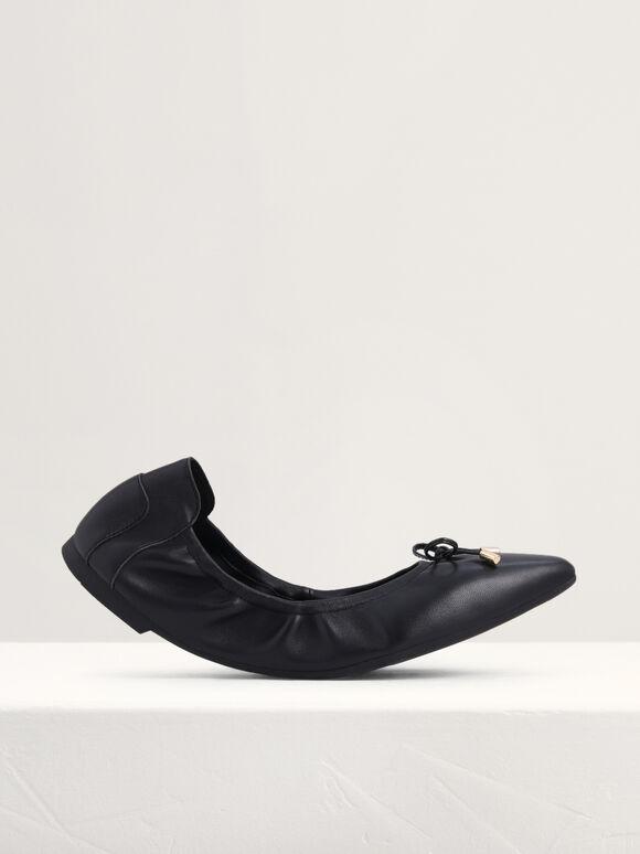 Ribbon Detail Foldable Leather Flats, Black, hi-res
