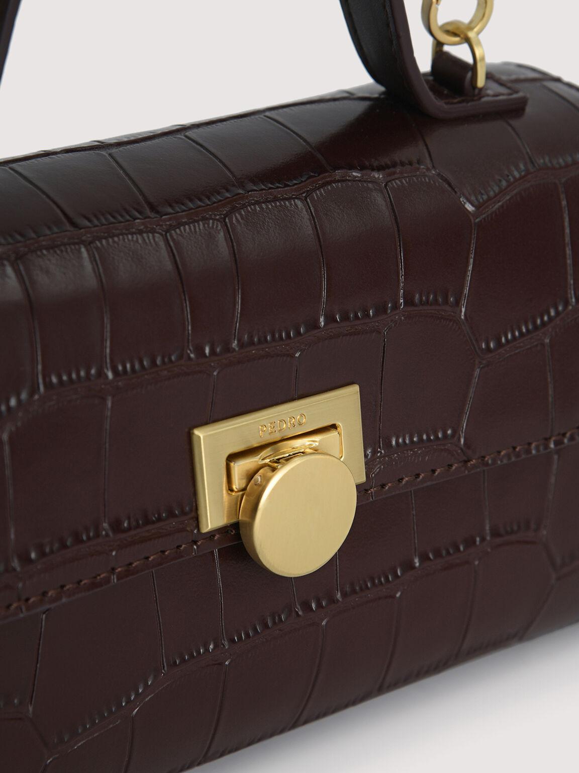 Croc-Effect Trapeze Top Handle Bag, Mahogany, hi-res