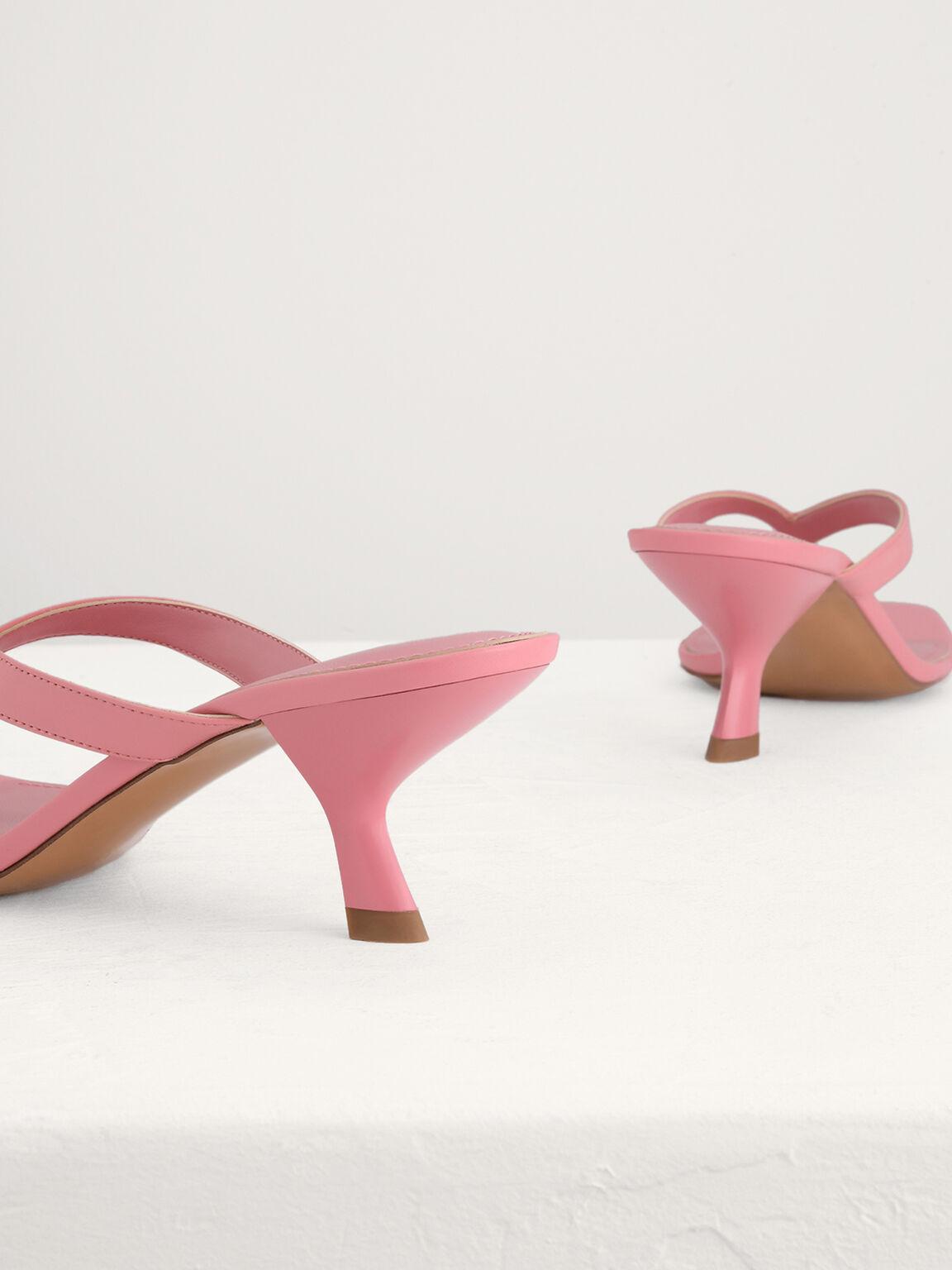 Square Toe Thong Heeled Sandals, Light Pink, hi-res